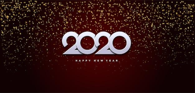 2020 gelukkige verjaardag achtergrond met kleine kralen van goud verspreid van boven achter de witte cijfers