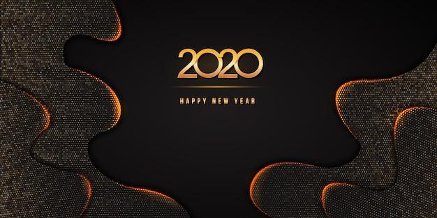 2020 happy new year-tekst met gouden nummers op abstracte zwarte golvend