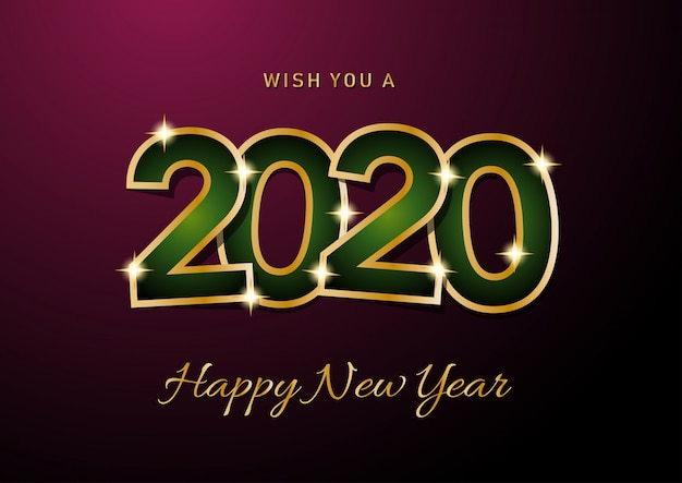2020 happy new year viering kaart
