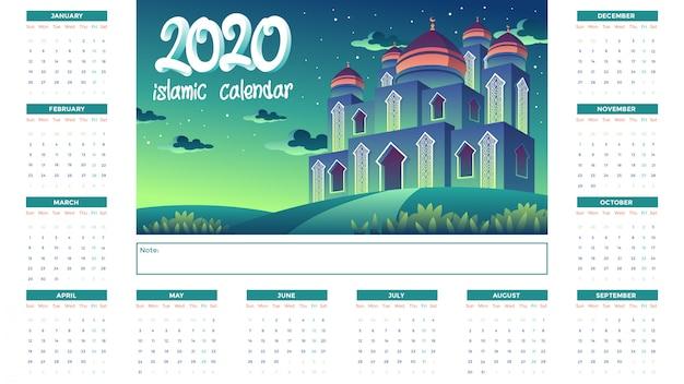 2020 islamitische kalender met groene moskee in de nacht