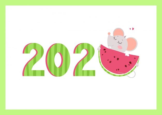 2020 jaar platte vector banner met muis sjabloon