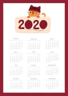 2020 kalender met een schattig kitten