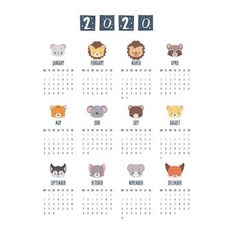 2020 kalender met schattige dieren