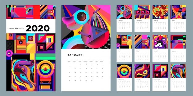 2020 kalender ontwerpsjabloon met kleurrijke abstracte vloeibare en geometrische achtergrond