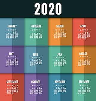 2020 kalender planner vector ontwerp