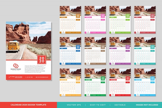 2020 kalender sjabloon set