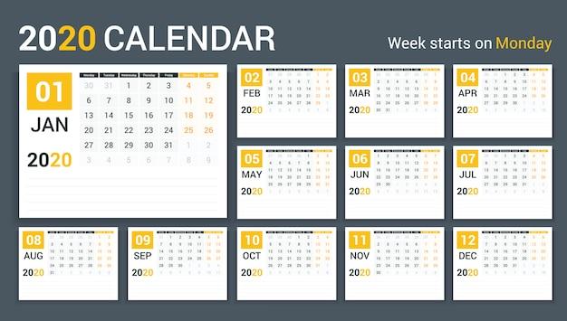 2020 kalender