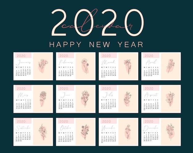 2020 kalenderontwerp klaar om af te drukken