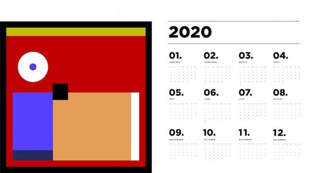 2020 kalendersjabloon met kleurrijke abstracte geometrische achtergrond