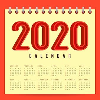 2020 kalendersjabloon