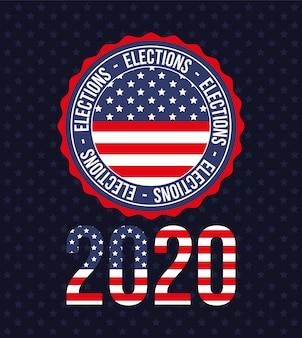 2020 met amerikaanse vlag in zegelstempelontwerp, verkiezingsregering van de president en campagnethema