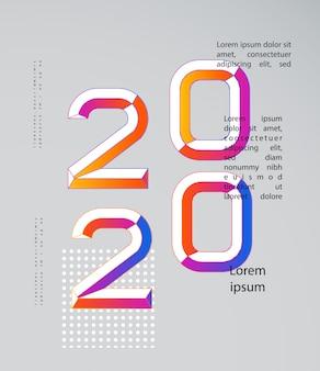 2020 modern. 2020 gelukkig nieuwjaar. nummers minimalistische stijl. lineaire getallen. ontwerp van een wenskaart.