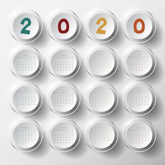 2020 moderne kalendersjabloon.