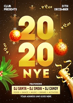 2020 new year eve poster met hangende kerstballen, champagnefles en evenementdetails.