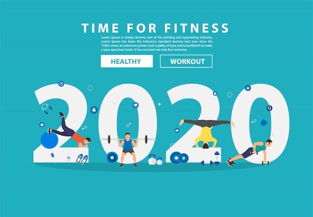 2020 nieuwjaar fitness concept man training gym apparatuur met platte grote letters.