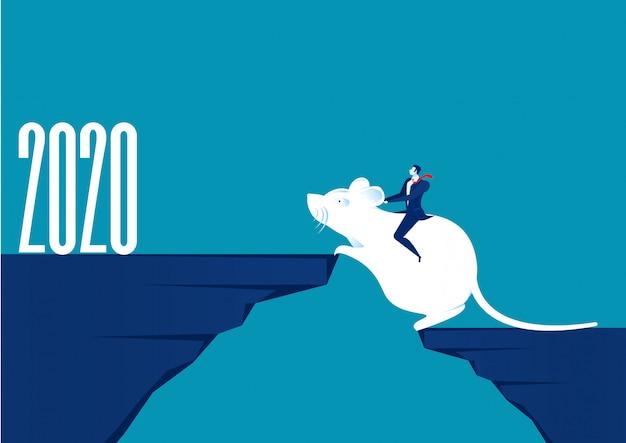 2020 nieuwjaar. mensen uit het bedrijfsleven rijden rat verhuizing naar nieuwe berg vakantie, illustrator