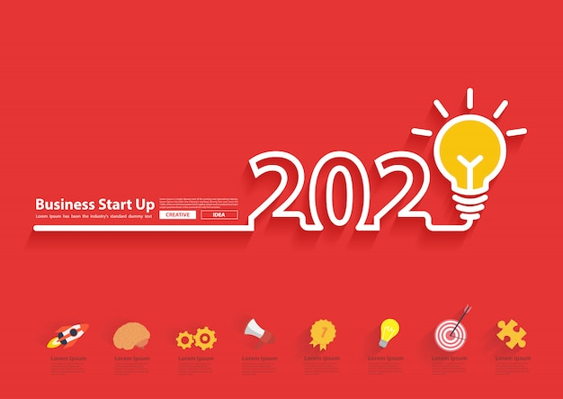 2020 nieuwjaar met creatief gloeilampideeontwerp