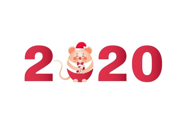2020 nieuwjaar met schattige kleine muis en cadeau