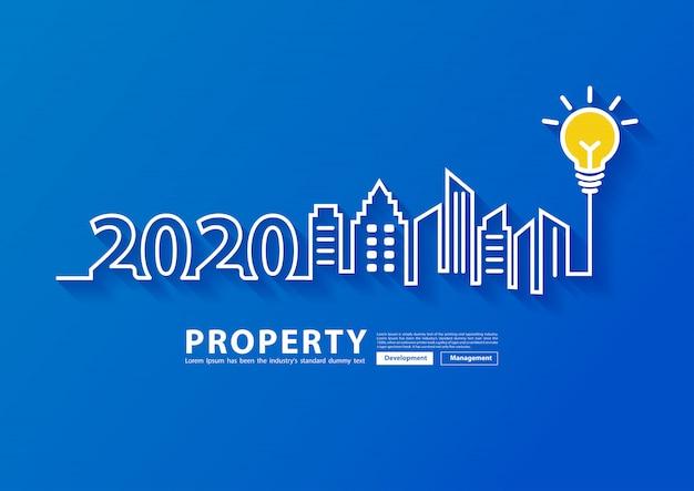 2020 nieuwjaar stad skyline lijntekeningen creatief licht buld ideeën ontwerp,