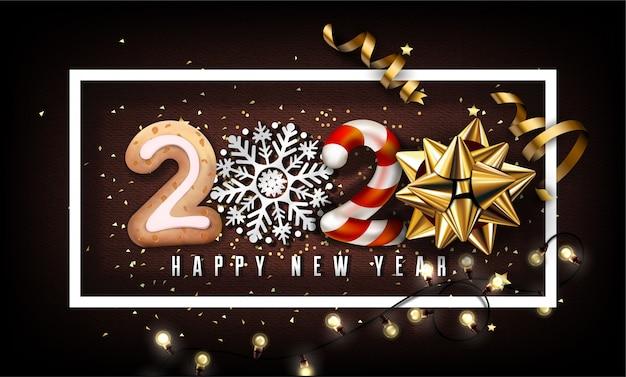 2020 nieuwjaarsachtergrond met kerstmiselementen