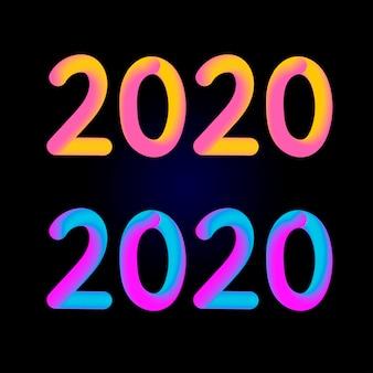 2020-nummer met vloeiende ontwerpstijl