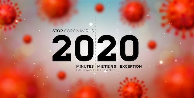 2020 stop coronavirus design met falling covid-19 virus cell