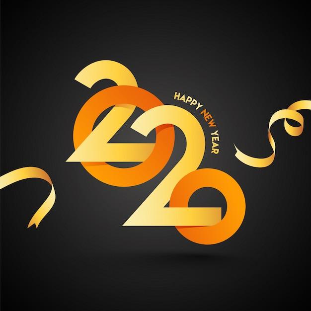 2020-tekst in geel en oranje papier gesneden stijl op zwarte achtergrond voor gelukkig nieuwjaar viering concept.