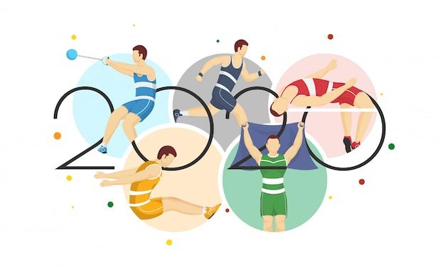 2020 tekst met gezichtsloze sporters, olympische spelen 2020.