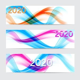 2020 van het nieuwe jaar van gekleurde golven banner set