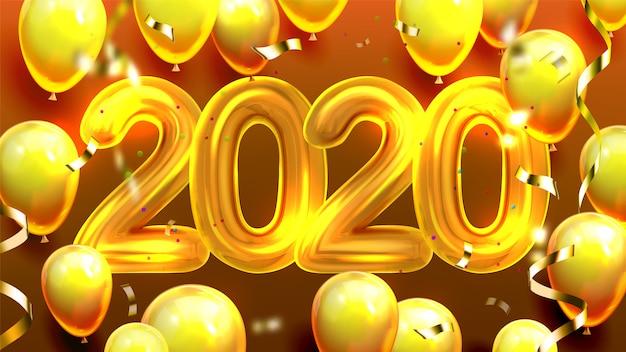 2020 versierde ballonnen en confetti