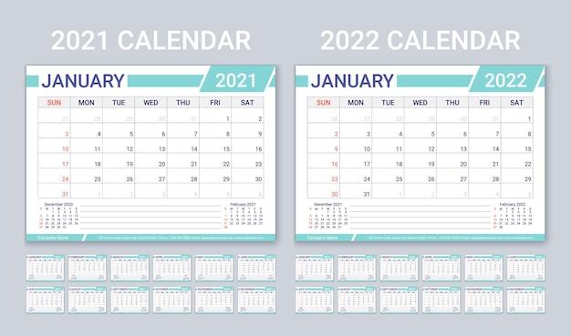 2021 2022 jaarkalenders. plannersjabloon met 12 maanden. vector illustratie.