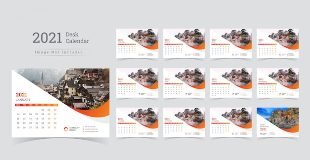 2021 bureaukalender, week begint op maandag.