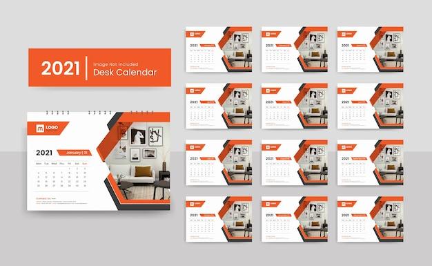 2021 bureaukalendersjabloon voor zakelijke onderneming met creatief ontwerp
