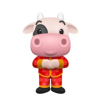 2021 chinees nieuwjaar, jaar van de os-cartoon