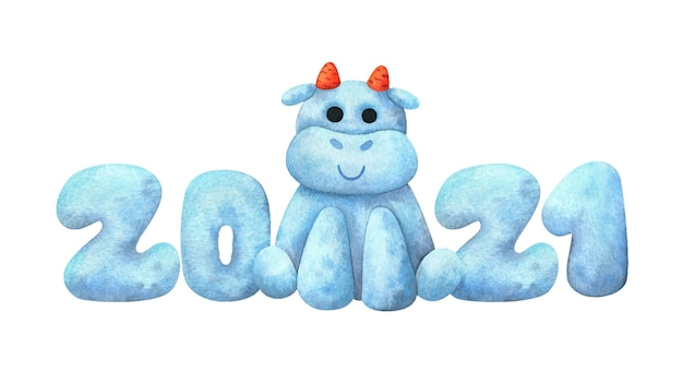 2021 en een stier gemaakt van sneeuw. samenstelling van het nieuwe jaar