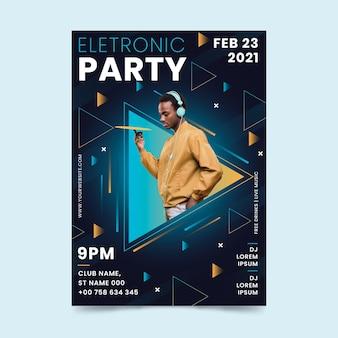 2021 flyer sjabloon voor muziekevenementen in memphis stijl