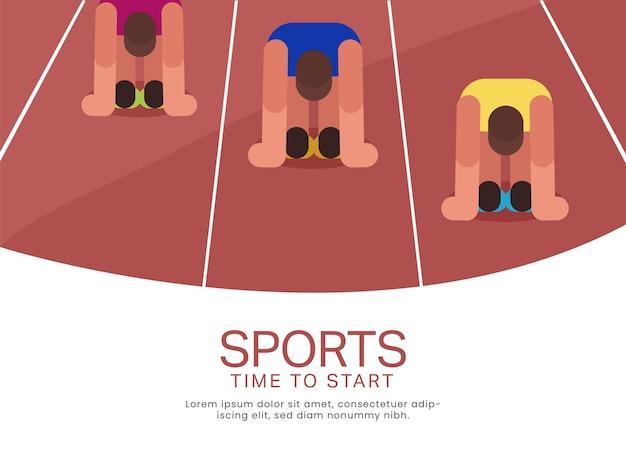 2021 games-concept met atletiekstart op sprintracebaan.