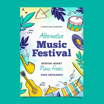 2021 geïllustreerde muziekfestivalaffiche