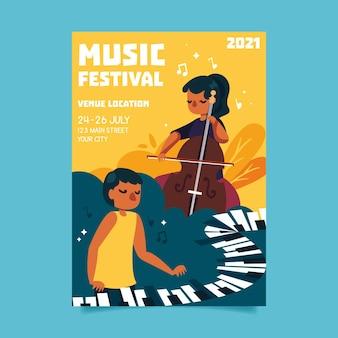 2021 geïllustreerde poster voor muziekfestivals met mensen die instrumenten bespelen