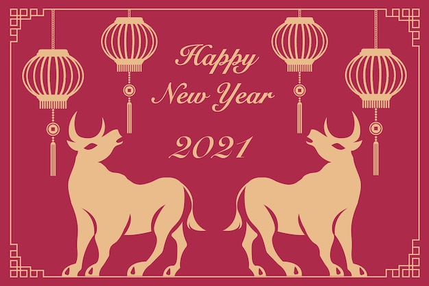 2021 gelukkig chinees nieuwjaar van os retro elegante lantaarn en bloem.
