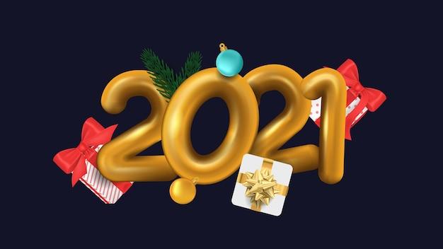 2021 gelukkig nieuwjaar 3d gouden met geschenkdoos