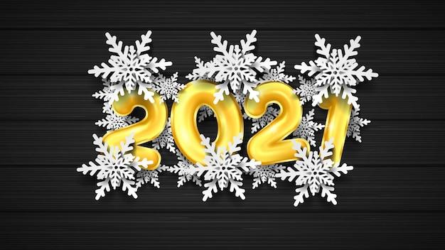 2021 gelukkig nieuwjaar 3d gouden nummer en sneeuwvlok
