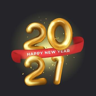2021 gelukkig nieuwjaar 3d-realistische gouden nummer op zwarte achtergrond