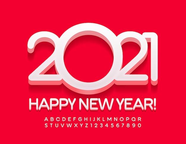 2021 gelukkig nieuwjaar 3d wit lettertype moderne stijlvolle alfabetletters en cijfers ingesteld