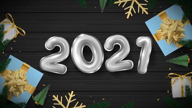 2021 gelukkig nieuwjaar 3d zilveren nummer en geschenkdoos
