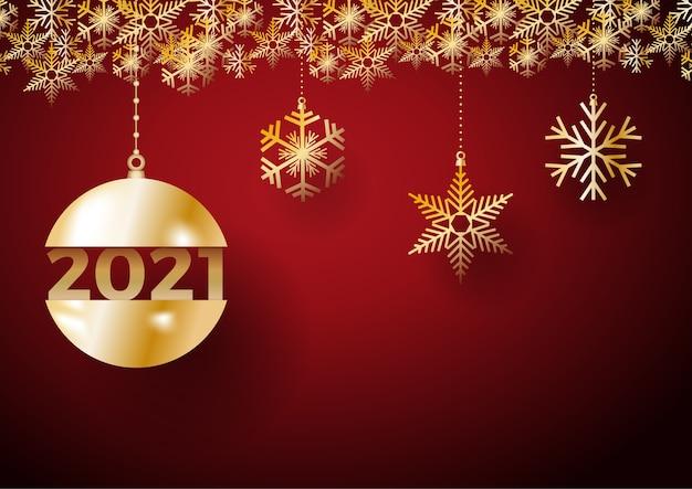 2021 gelukkig nieuwjaar achtergrond. gouden ballen en ijs voor briefkaart, kalender en begroeting