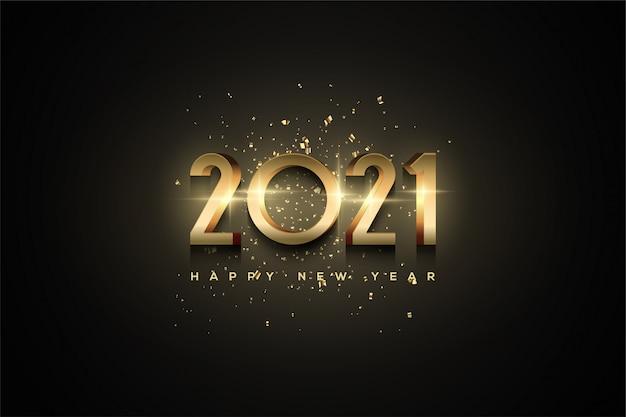 2021 gelukkig nieuwjaar achtergrond met 3d-gouden cijfers.