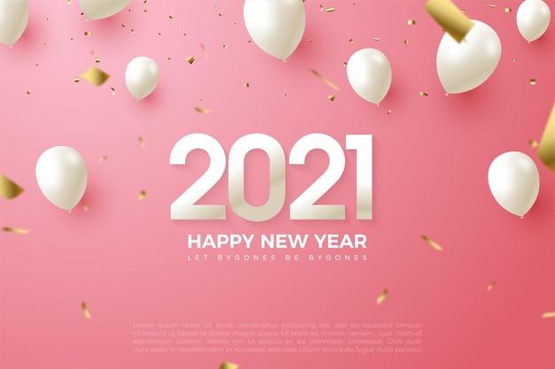 2021 gelukkig nieuwjaar achtergrond met cijfers en ballonnen in wit