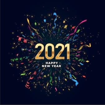 2021 gelukkig nieuwjaar achtergrond met confetti burst