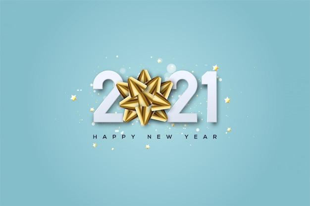 2021 gelukkig nieuwjaar achtergrond met een lint boven het cijfer 0.